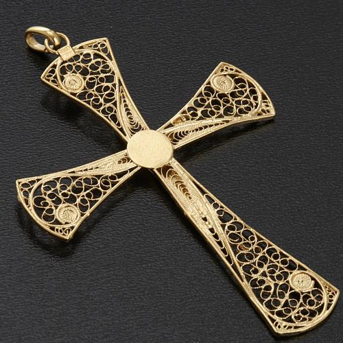 Croix pendentif filigrane d'argent 800 bain d'or 5,4 gr 8