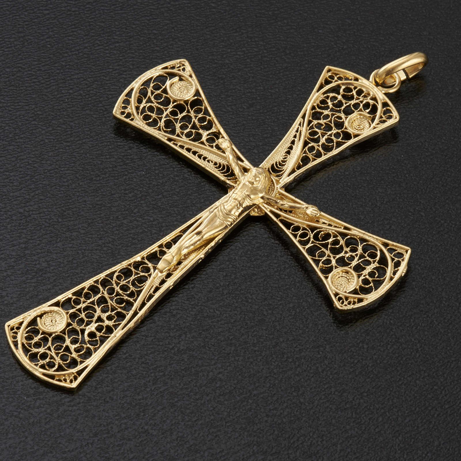Croce pendente filigrana argento 800 bagno oro - gr. 5,47 4