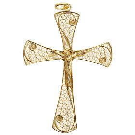 Croce pendente filigrana argento 800 bagno oro - gr. 5,47 s2