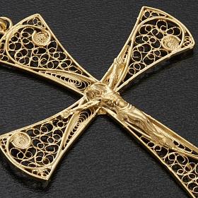 Croce pendente filigrana argento 800 bagno oro - gr. 5,47 s4