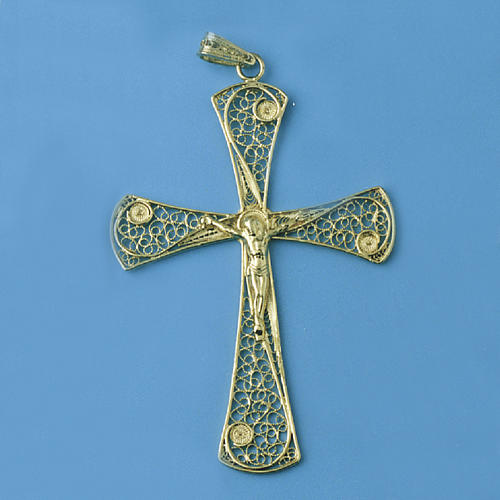 Croce pendente filigrana argento 800 bagno oro - gr. 5,47 1