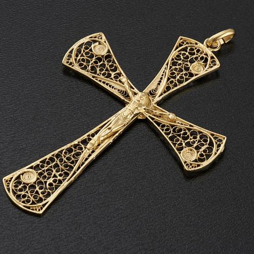 Croce pendente filigrana argento 800 bagno oro - gr. 5,47 3