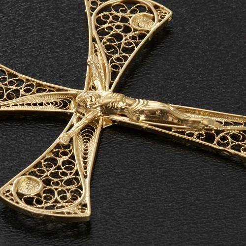 Croce pendente filigrana argento 800 bagno oro - gr. 5,47 7