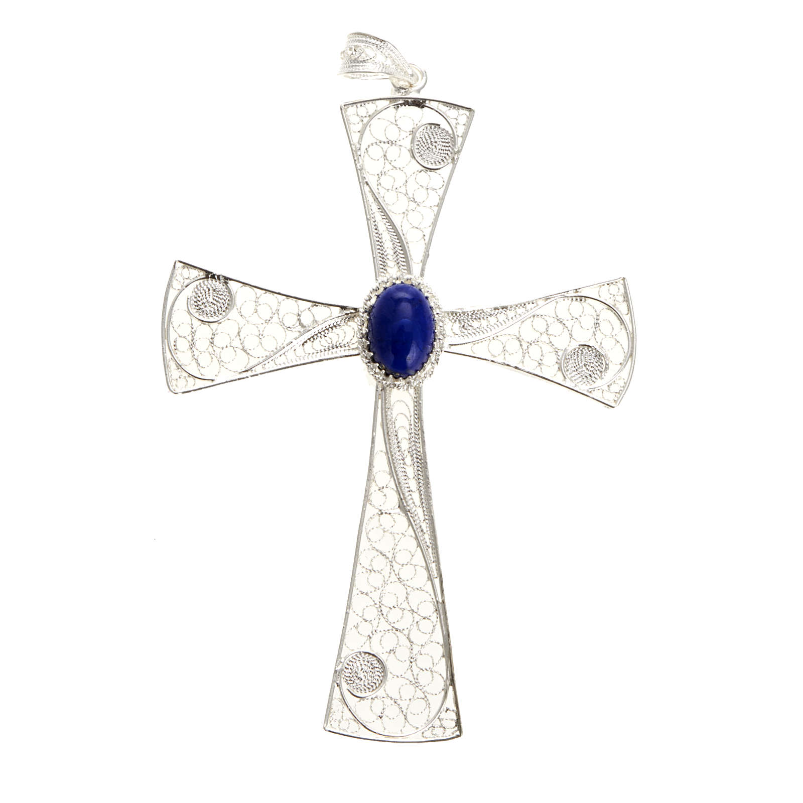 Cruz filigrana con piedra lapislázuli, 5,47gr 4