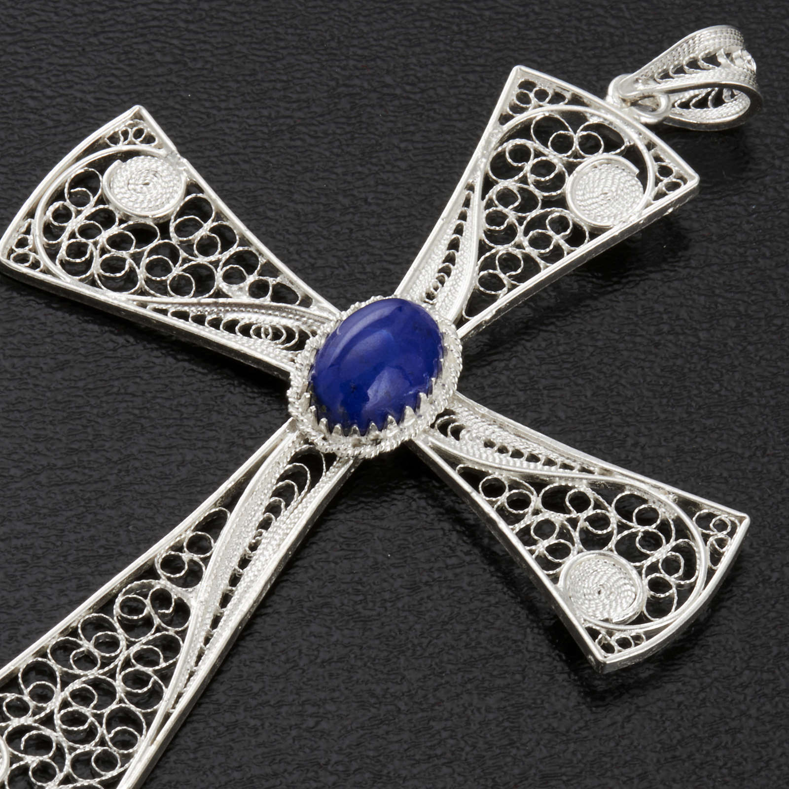 Croix pendentif lapis-lazuli filigrane d'argent 800 5,47gr 4