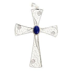 Croix pendentif lapis-lazuli filigrane d'argent 800 5,47gr s1