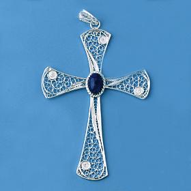 Croix pendentif lapis-lazuli filigrane d'argent 800 5,47gr s2
