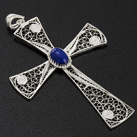 Croix pendentif lapis-lazuli filigrane d'argent 800 5,47gr s3