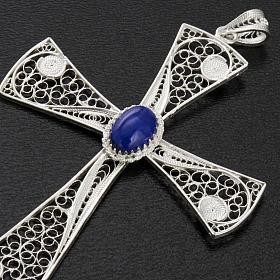 Croix pendentif lapis-lazuli filigrane d'argent 800 5,47gr s4