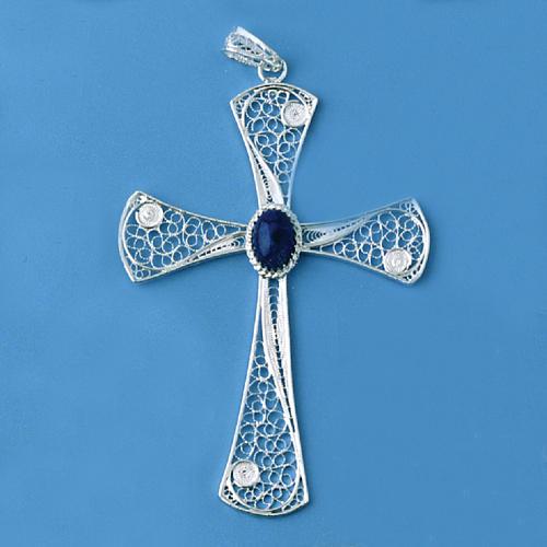 Croix pendentif lapis-lazuli filigrane d'argent 800 5,47gr 2