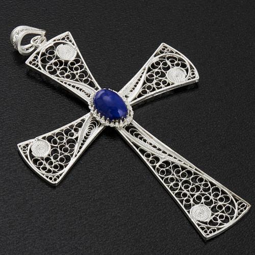 Croix pendentif lapis-lazuli filigrane d'argent 800 5,47gr 3