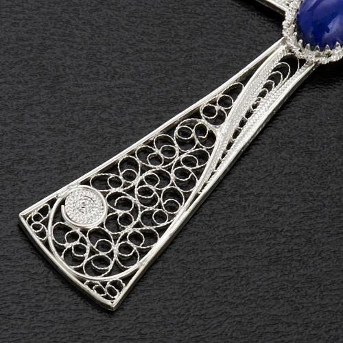 Croix pendentif lapis-lazuli filigrane d'argent 800 5,47gr 5