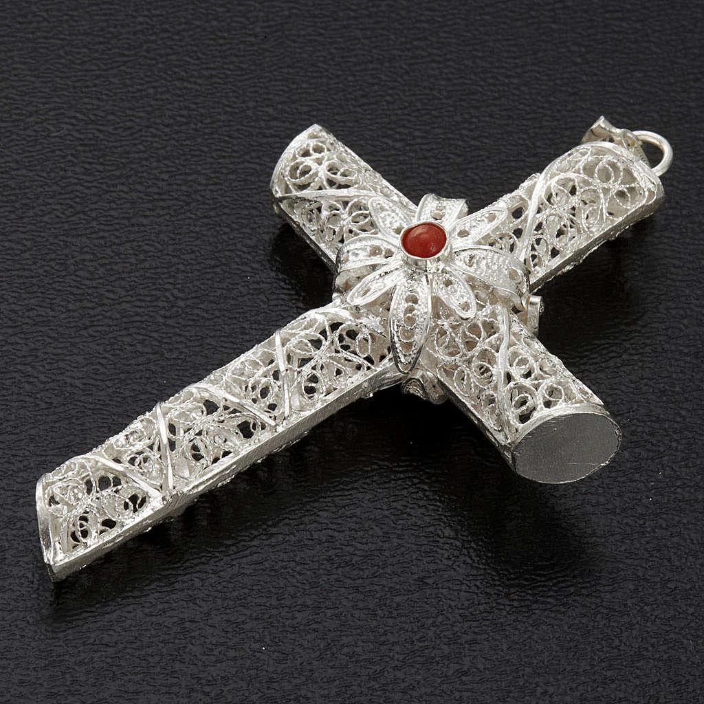 Cross pendant, 800 silver, coral 10,2g 4