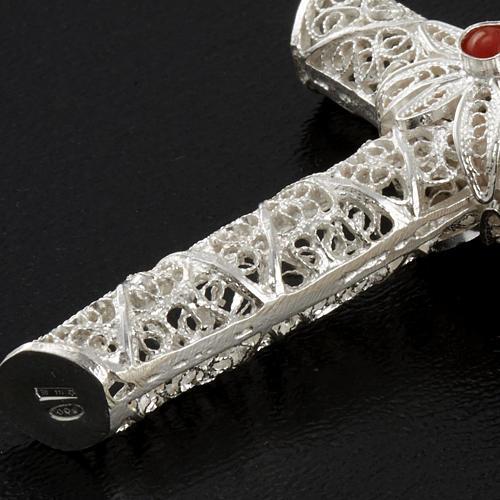 Cross pendant, 800 silver, coral 10,2g 5
