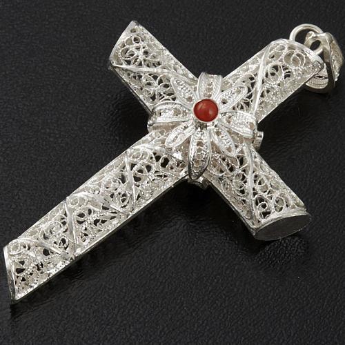 Croix pendentif corail filigrane argent 800 10,2 gr 2
