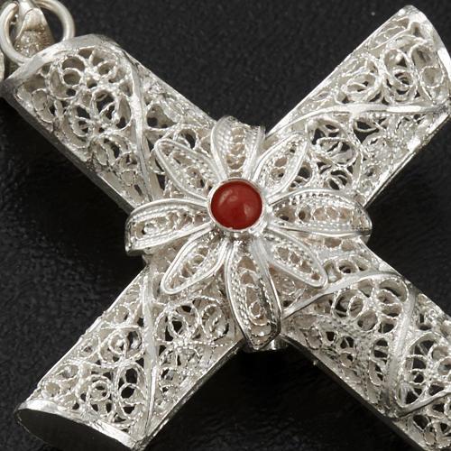 Croix pendentif corail filigrane argent 800 10,2 gr 4