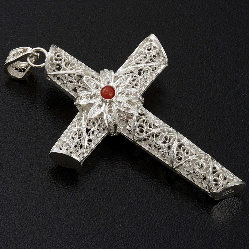 Croce pendente corallo filigrana argento 800 - gr. 10,2 4