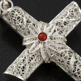 Croce pendente corallo filigrana argento 800 - gr. 10,2 s4