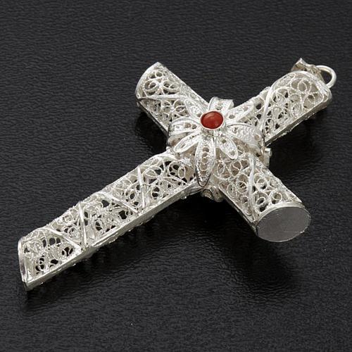 Croce pendente corallo filigrana argento 800 - gr. 10,2 6