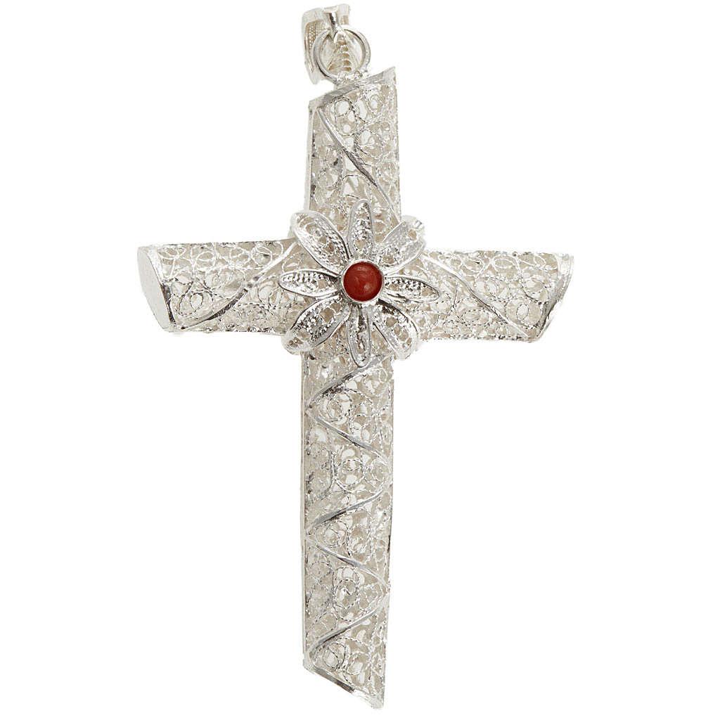Cruz pingente coral filigrana prata 800 10,2 g 4
