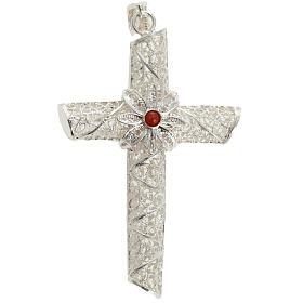 Cruz pingente coral filigrana prata 800 10,2 g s1