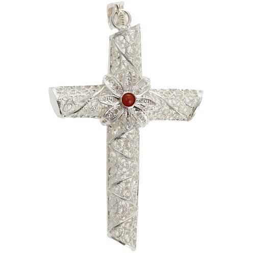 Cruz pingente coral filigrana prata 800 10,2 g 1