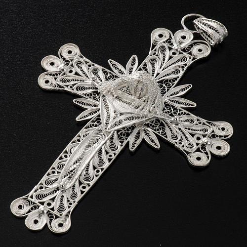 Croix pendentif décors filigrane argent 32,9 gr 4