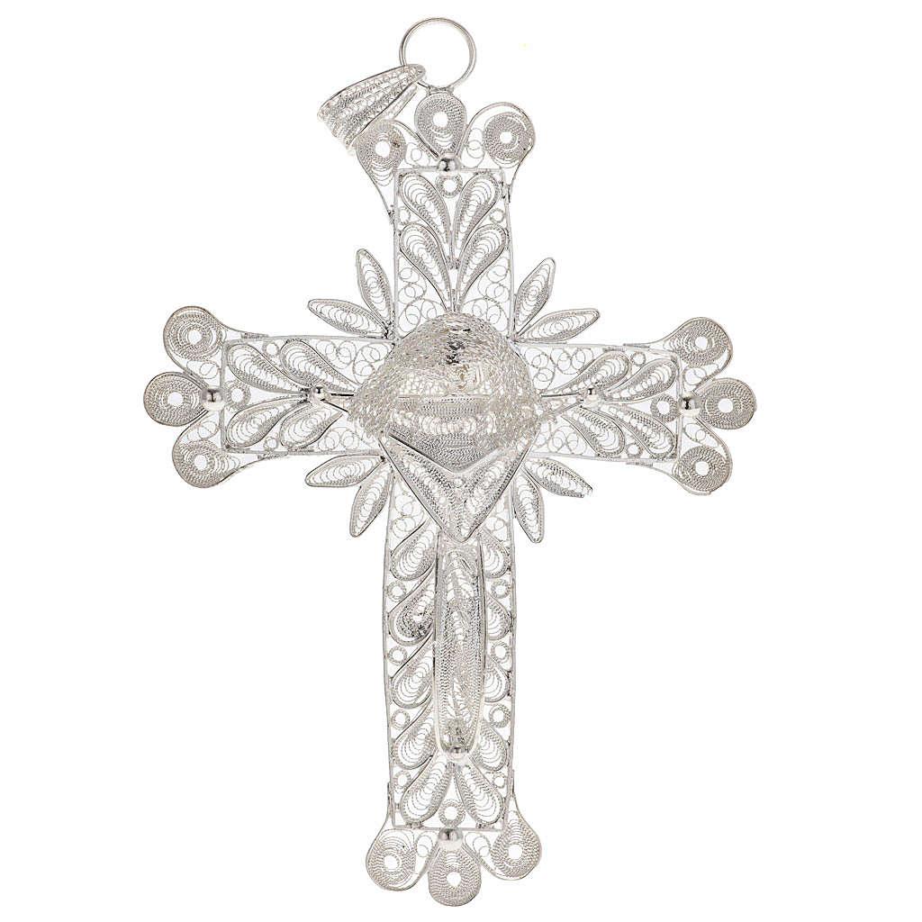 Croce pendente decori filigrana arg. 800 - gr. 32,9 4
