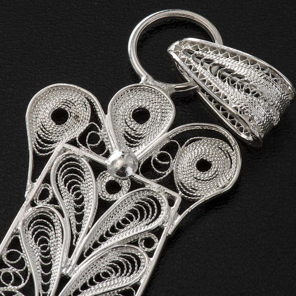 Cross pendant, 800 silver, flower decorations 32,9g 4
