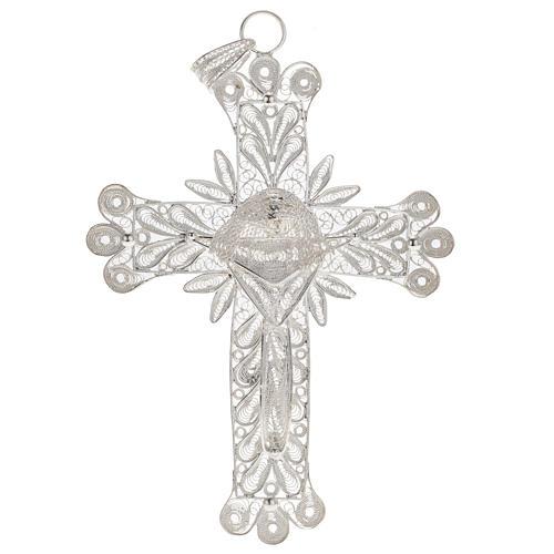 Cross pendant, 800 silver, flower decorations 32,9g 1