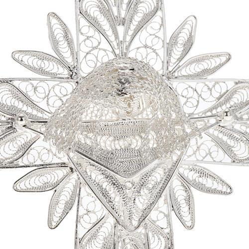 Cross pendant, 800 silver, flower decorations 32,9g 2
