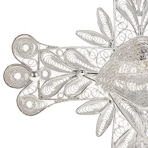 Cross pendant, 800 silver, flower decorations 32,9g 3