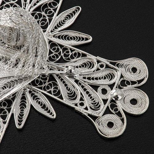 Cross pendant, 800 silver, flower decorations 32,9g 5
