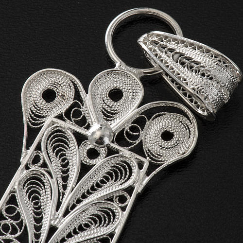 Cross pendant, 800 silver, flower decorations 32,9g 8