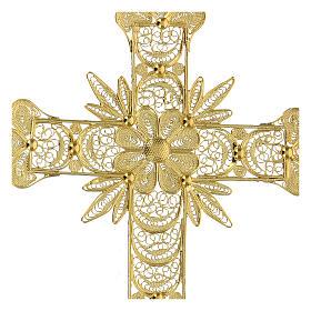 Croce pendente filigrana arg. 800 fiore - gr. 20,1 s2