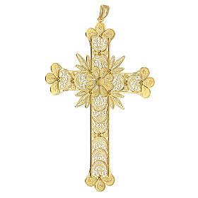 Croce pendente filigrana arg. 800 fiore - gr. 20,1 s3