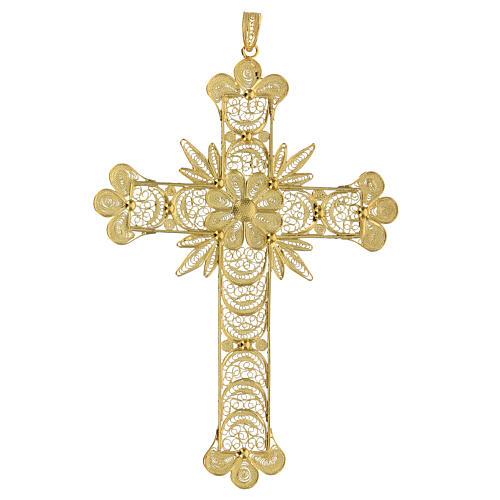 Croce pendente filigrana arg. 800 fiore - gr. 20,1 1