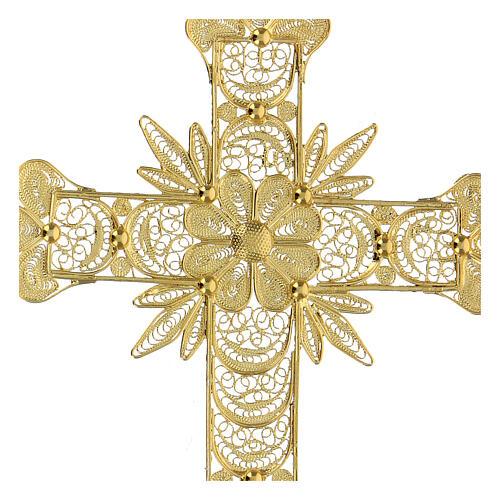 Croce pendente filigrana arg. 800 fiore - gr. 20,1 2