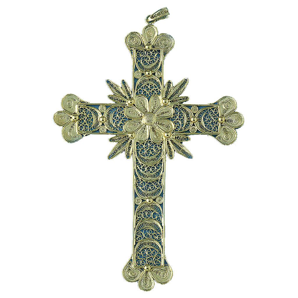 Krzyżyk zawieszka zdobienia kwieciste filigran srebro 800 20.1g 4