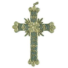 Krzyżyk zawieszka zdobienia kwieciste filigran srebro 800 20.1g s1