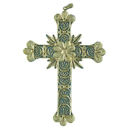 Krzyżyk zawieszka zdobienia kwieciste filigran srebro 800 20.1g 1