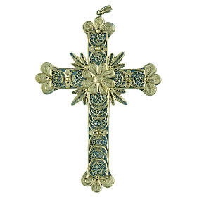 Cross pendant, 800 silver, flower decorations 20,1g s1
