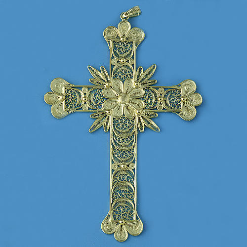 Cross pendant, 800 silver, flower decorations 20,1g 1