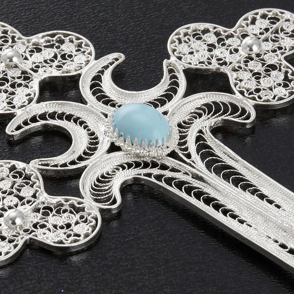 Cruz  de filigrana con piedra azul  de plata 800, pesa 12,7gr 4