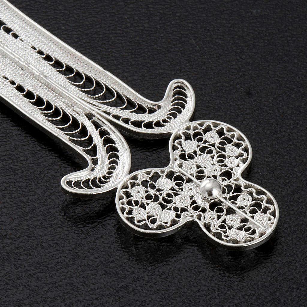 Pingente cruz filigrana prata 800 pedra 12,7 g 4