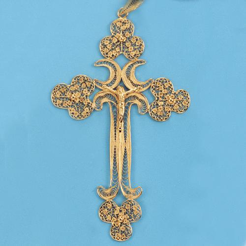 Pendente croce filigr. argento 800 - gr. 12.7 2