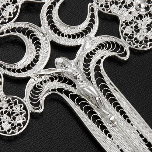 Pendente croce filigr. argento 800 - gr. 12.7 4