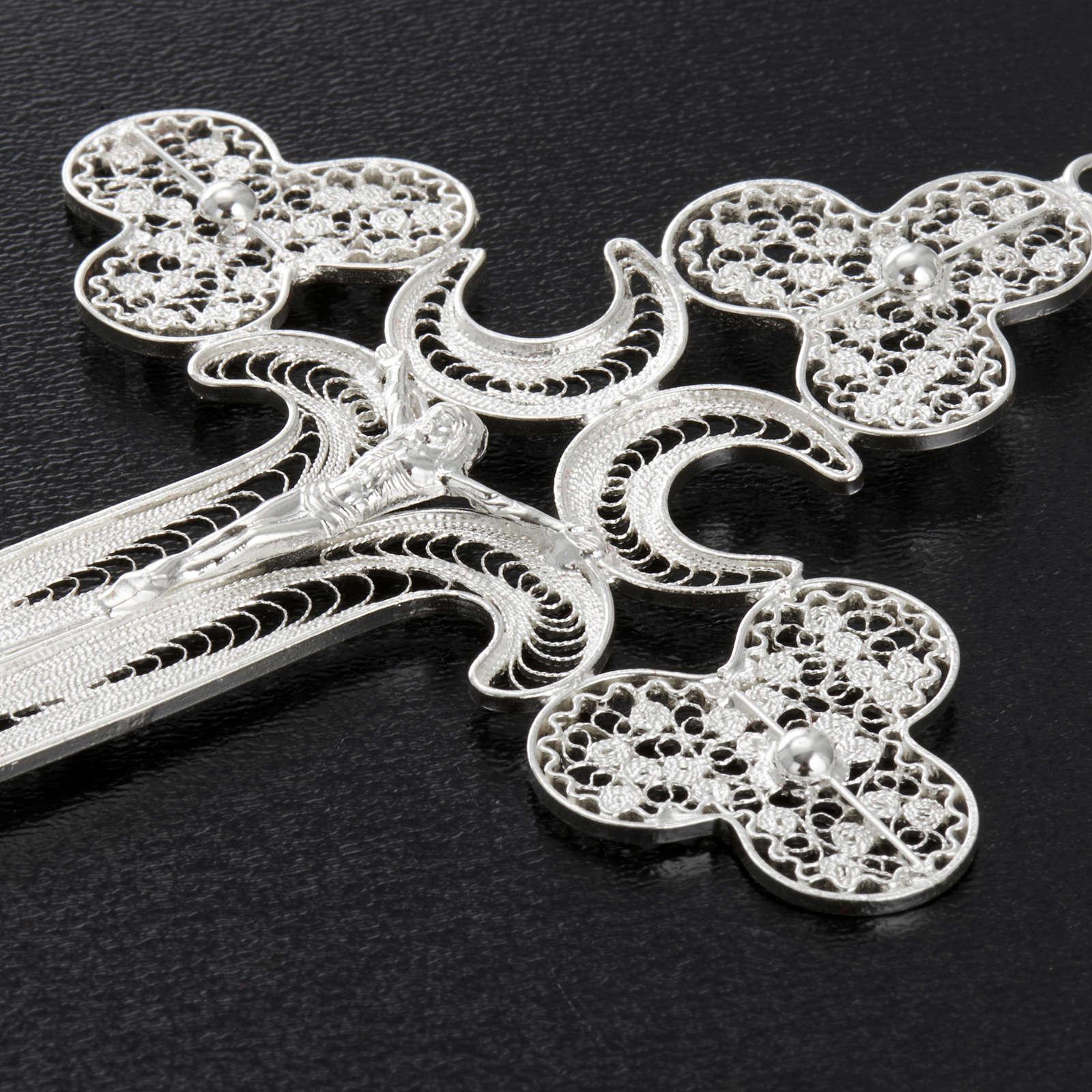 Pingente cruz filigrana prata 800 12,7 g 4