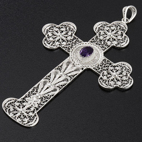 Dije de cruz  de filigrana con amatista, de plata 800 2