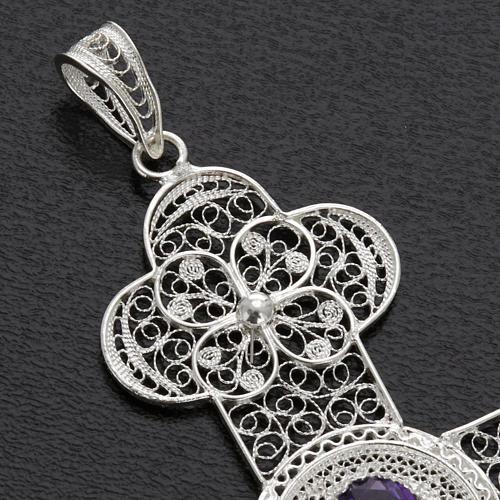 Croix pendentif améthyste filigrane argent 10,8 gr 3